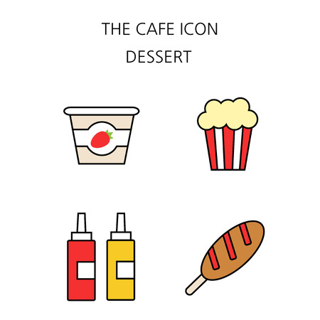 Vector - Coffee flat icon set. coffee equipment cafe with sweets retail service bakery. 036