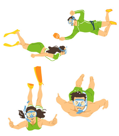 Leisure sports collection, enjoying healthy lifestyle concept flat vector illustration. on a white background. 010 Illustration