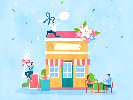 Spring and Summer season shopping event for mobile and web vector illustration design with colorful background. 012 Illustration