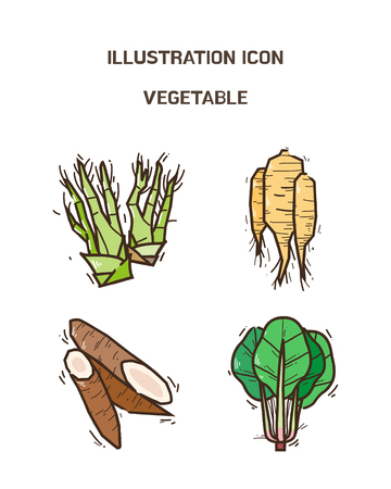 Vector - fruit and vegetable icon set for healthy food on white background 004 向量圖像