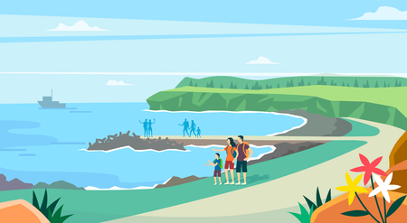 Vector - Beautiful Spring Landscape in Flat Design Style. look around the tourist attractions in Jeju, Korea. 012