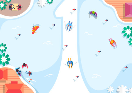 Vector - Top view of streets and beach side. in the shape of numbers flat style illustration. 001 Ilustrace