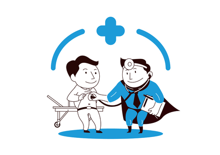 Insurance. A man who is symbol of insurance protects family on a white background. vector illustration. 007