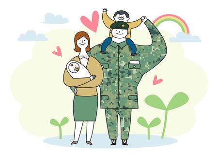 군인 및 장교 남자와 제복을 입은 여자. 귀여운 만화 스타일 벡터 일러스트 레이 션. 010