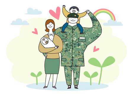 Soldado y oficial hombre y mujer en uniforme. Ilustración de vector de estilo de dibujos animados lindo. 010