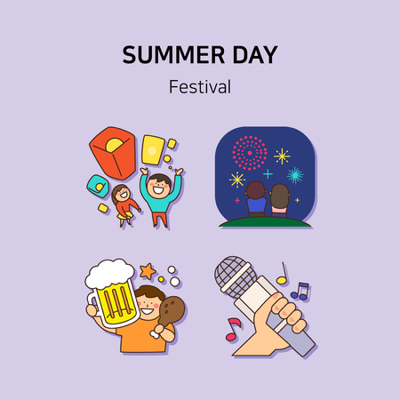 Set of icons for summer vector illustration. cute character flat style with colorful background. 030 Illustration