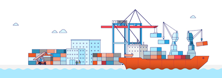 International Freight Transportation by sea, air, rail and road. all kinds of logistic vector illustration. 006