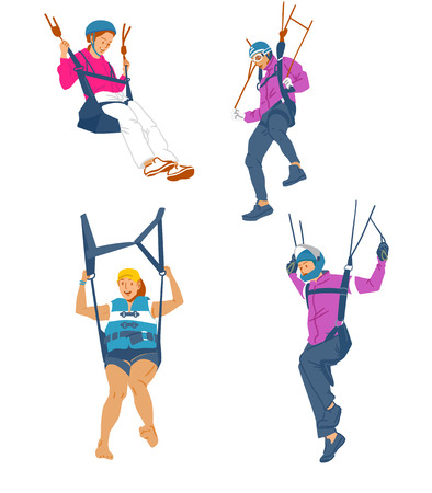 Leisure sports collection, enjoying healthy lifestyle concept flat vector illustration. on a white background. 008 向量圖像