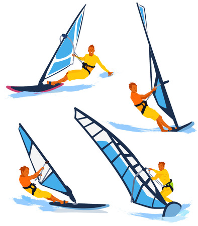 Leisure sports collection, enjoying healthy lifestyle concept flat vector illustration. on a white background. 002 Illustration