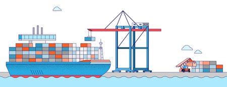 International Freight Transportation by sea, air, rail and road. all kinds of logistic vector illustration. 001