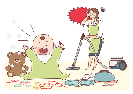 Vector - Illustration of the concept of life and work balance, super mom & business woman concept 004