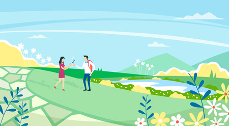 Vector - Beautiful Spring Landscape in Flat Design Style. look around the tourist attractions in Jeju, Korea. 009