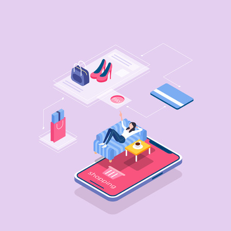 Flat isometric Smart life concept template vector illustration. 002