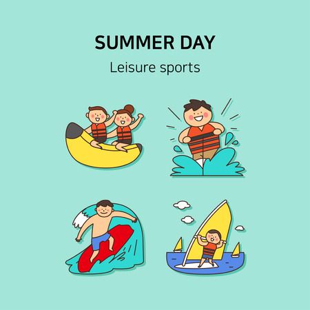 Set of icons for summer vector illustration. cute character flat style with colorful background. 016 Illustration