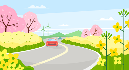Vector - Beautiful Spring Landscape in Flat Design Style. look around the tourist attractions in Jeju, Korea. 004