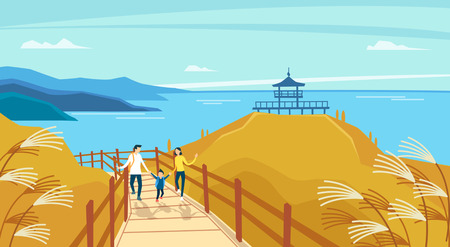 Vector - Beautiful Spring Landscape in Flat Design Style. look around the tourist attractions in Jeju, Korea. 011