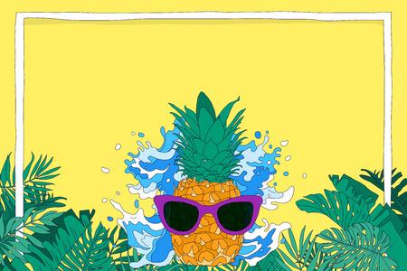 Summer background vector illustration. Poster, flyer, brochure design templates with colorful background. 010