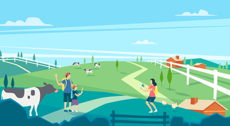 Vector - Beautiful Spring Landscape in Flat Design Style. look around the tourist attractions in Jeju, Korea. 001 Illustration