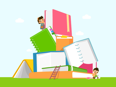 Vector - Children's Education book fair Illustration. Kids sitting on stack of giant books or beside it and reading. 009