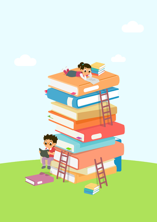 Vector - Children's Education book fair Illustration. Kids sitting on stack of giant books or beside it and reading. 006 Ilustracja