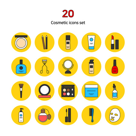 Set of colorful flat icons. Design elements for mobile and web applications - Cosmetic