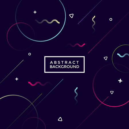 Black abstract geometrical background with neon shapes Illustration