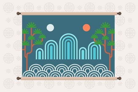 Plantilla de marco de estilo tradicional coreano, ilustración de vector de estado de ánimo de otoño