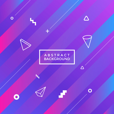 Pink and purple gradient, abstract geometrical background with white shapes Illustration