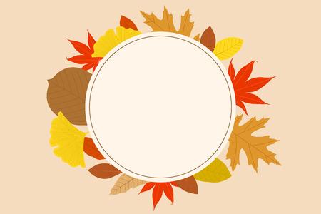 Beautiful autumn scene, colorful autumn leaves and pumpkin and nature landscape vector illustration