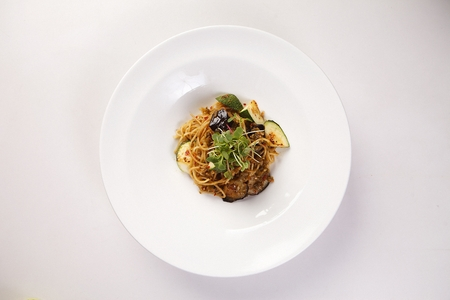 Oil pasta, western noodle dish with a green pumpkin