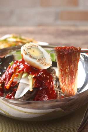 Korean cuisine Bibim Naengmyeon, chilled buckwheat noodles garnished with cold slices of beef, fresh skate, and radish or cucumber. Served with a spicy gochujang mixing sauce