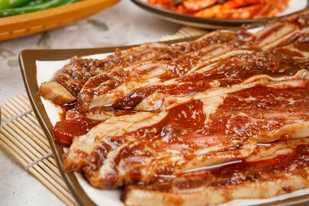 Closeup of fresh marinated rib Imagens