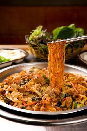 Gopchang bokeum, Korean cuisine, beef tripes stir-fried with vegetables, cellophane noodles, spicy sauce
