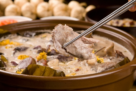 Duck soup with rice, a Korean cuisine, health food boiled with duck and medicine herbs