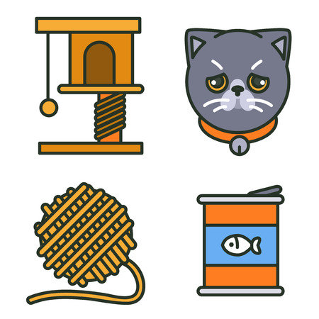 Flat veterinary icons set. use for web and mobile UI, set of basic veterinary elements isolated