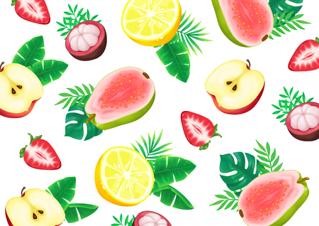 Summer fruits and Tropical leaves background seamless pattern Stock Vector - 112264139