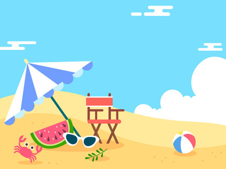 Summer holiday background with beach and forest landscape Vector Illustratie