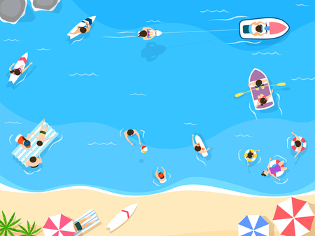 Top view of summer vacation illustration. Design for seasonal holidays, vacations, resorts, summer related subjects