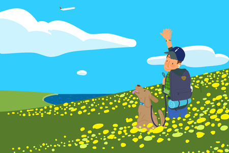 Holidays vacation with a pet, Summertime travel concept