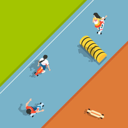 Aerial view of sport games in flat design style illustration Illustration