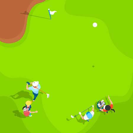 Aerial view of sport games in flat design style illustration