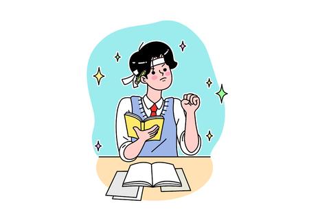 Dibujos animados de la vida escolar. Adolescentes, estudiantes de secundaria y preparatoria