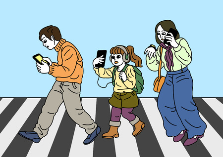Smartphone addiction concept many people are always using it, and lack of communication