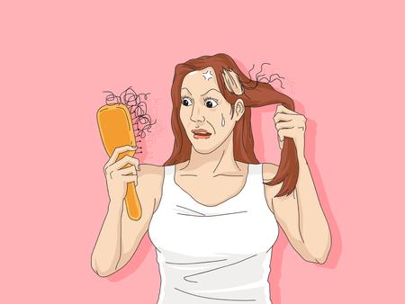 Hair loss cartoon, Young man and woman serious hair loss problem for hair loss concept Ilustracja