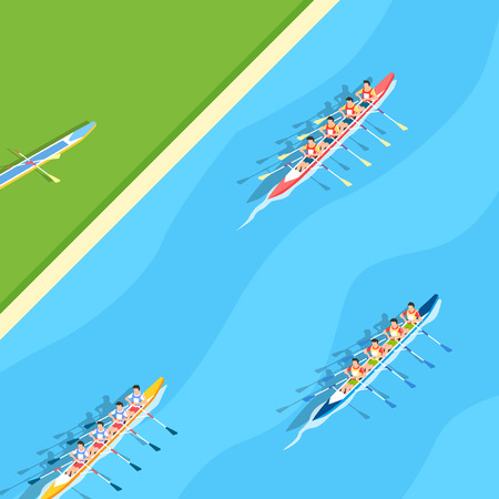 Aerial view of sport games in flat design style illustration Stock Illustratie