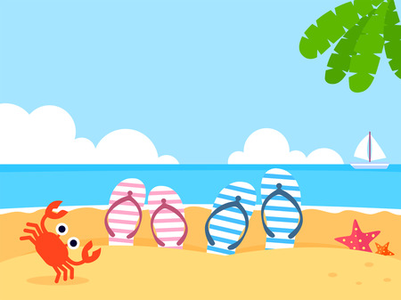 Summer holiday background with beach and forest landscape