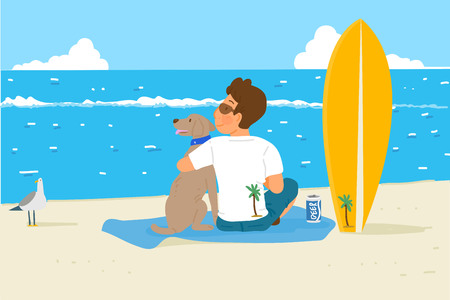 Vector - Holidays vacation with a pet, Summertime travel concept vector illustration