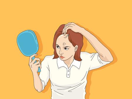Standard-Bild - Haarausfall-Cartoon, junger Mann und Frau ernstes Haarausfallproblem für Haarausfall-Konzept-Vektor-Illustration