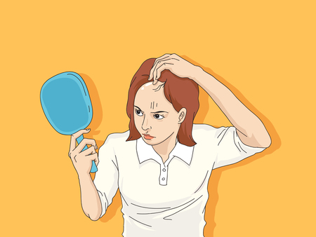 Vector - Hair loss cartoon, Young man and woman serious hair loss problem for hair loss concept vector illustration Çizim
