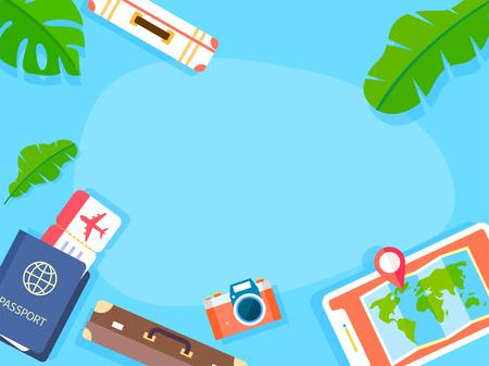 Fond de vacances d'été avec illustration vectorielle de plage et paysage forestier 022